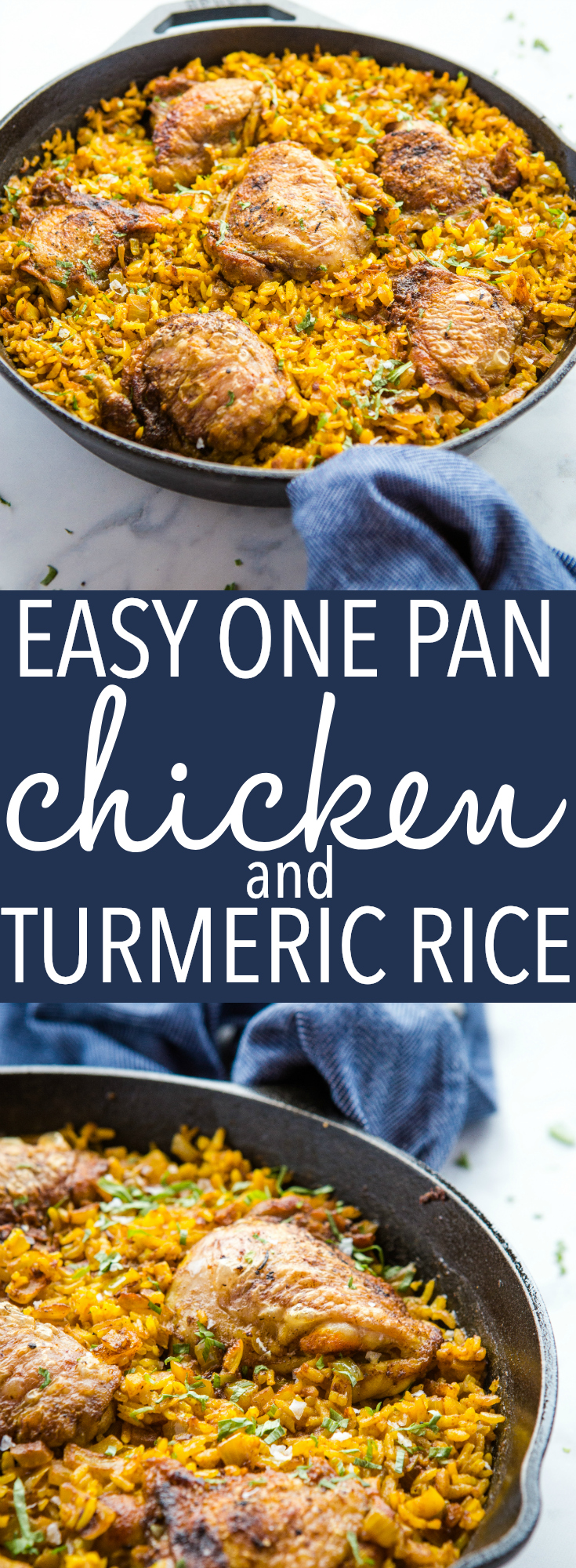 This Easy One Pan Chicken with Turmeric Rice is the perfect super easy weeknight dinner! It's family-friendly and on the table in 30 minutes! Recipe from thebusybaker.ca! #rice #turmeric #healthy #chicken #lodgecastiron #onepan #meal #weeknight #dinner #chickenandrice via @busybakerblog