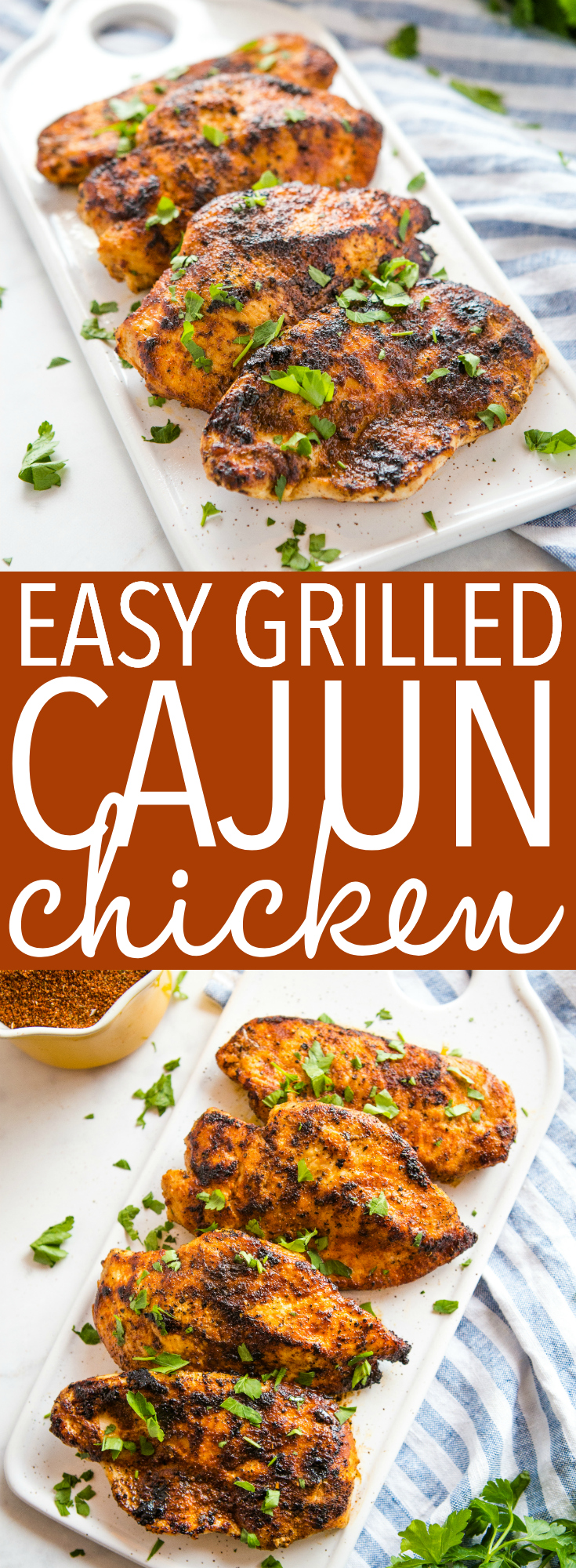 These Easy Cajun Grilled Chicken is the perfect healthy main dish recipe for grilling season! Juicy chicken breasts cooked to perfection in the BEST homemade cajun spice blend! Recipe from thebusybaker.ca! #chicken #chickenbreasts #grilled #healthy #easy #recipe #cajun #barbecue #bbq #summer #spring #healthy #lowcarb #keto via @busybakerblog