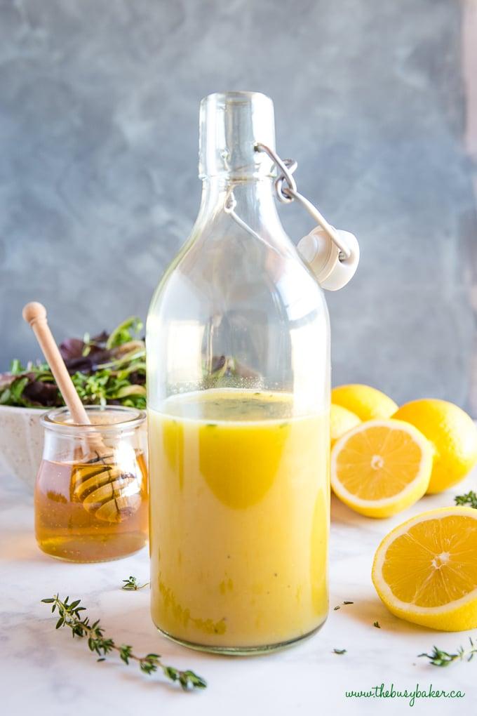 easy and healthy Honey Lemon Vinaigrette Salad Dressing in bottle homemade