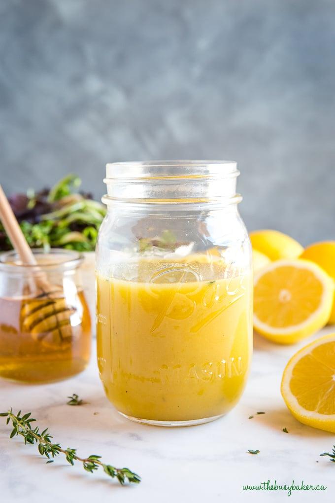 easy and healthy Honey Lemon Vinaigrette Salad Dressing in mason jar
