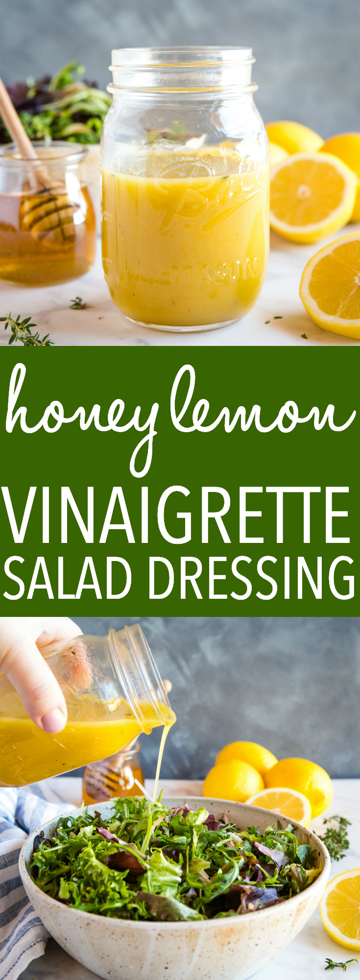 This easy and healthy Honey Lemon Vinaigrette Salad Dressing is perfect for all your favourite salads, and it's simple to make with only a few basic ingredients! Recipe from thebusybaker.ca! #salad #saladdressing #healthy #vegetarian #vegan #plantbased #easy #recipe #health #weightloss #spring #summer #cleaneating #eatclean #greens #lemon #honey #natural via @busybakerblog