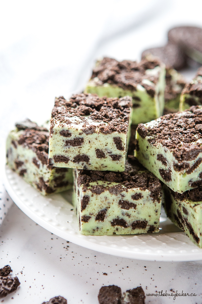 Mint Oreo Fudge on white plate