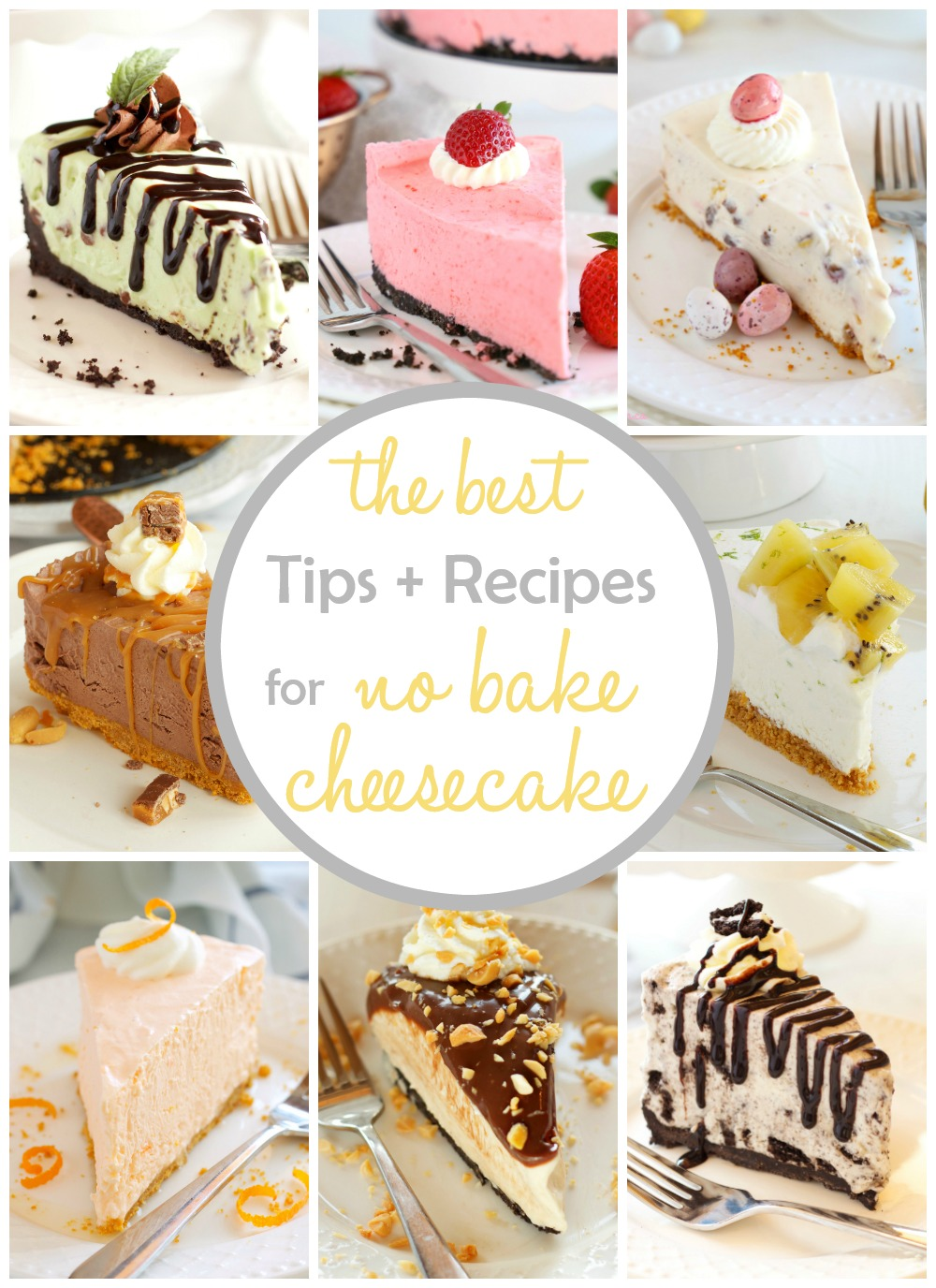 This no bake cheesecake guide is full of the best tips for creating creamy cheesecake without turning on an oven! We'll also share our favorite cheesecake no bake recipes. #nobakecheesecake #cheesecake #recipes via @busybakerblog