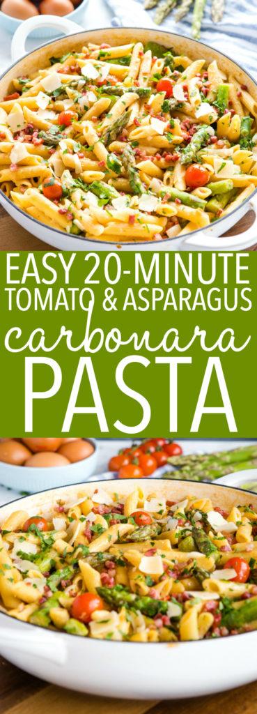 Easy 20-Minute Tomato Asparagus Carbonara Pasta Pinterest