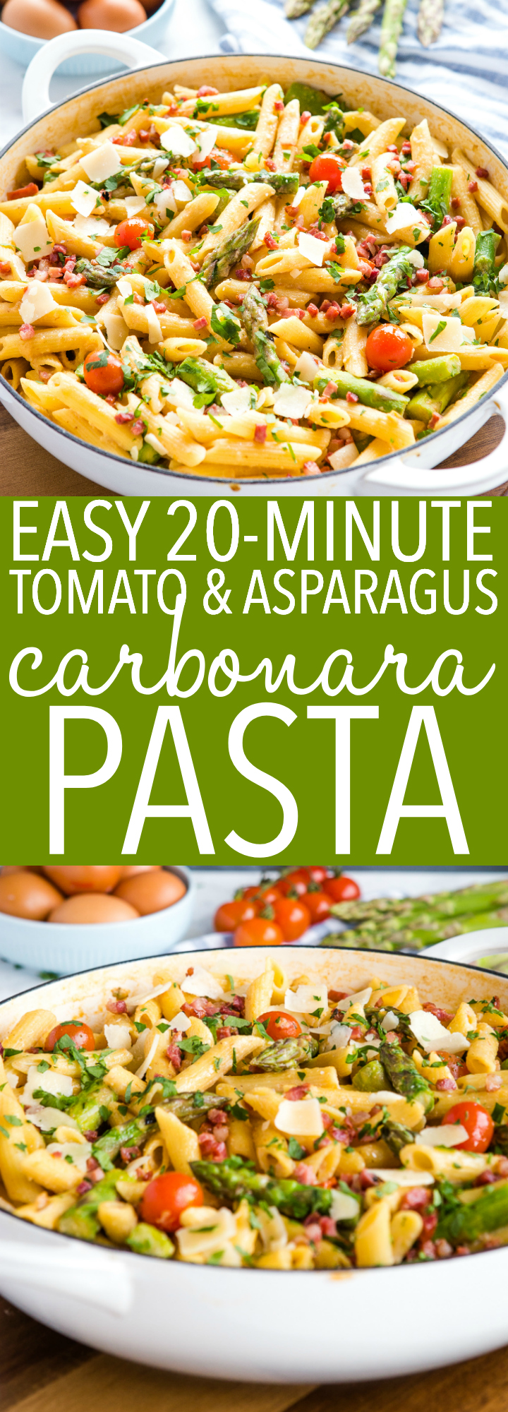 This Easy 20-Minute Tomato Asparagus Carbonara Pasta is the perfect spring-inspired dinner recipe with fresh tomatoes, asparagus & light, creamy sauce. Recipe from thebusybaker.ca! #pasta #carbonara #easy #recipe #veggies #bacon #asparagus #cherrytomatoes #tomatoes #herbs #fresh #family #meal #eggs #protein #healthy via @busybakerblog