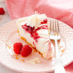 Easy No Bake White Chocolate Raspberry Cheesecake