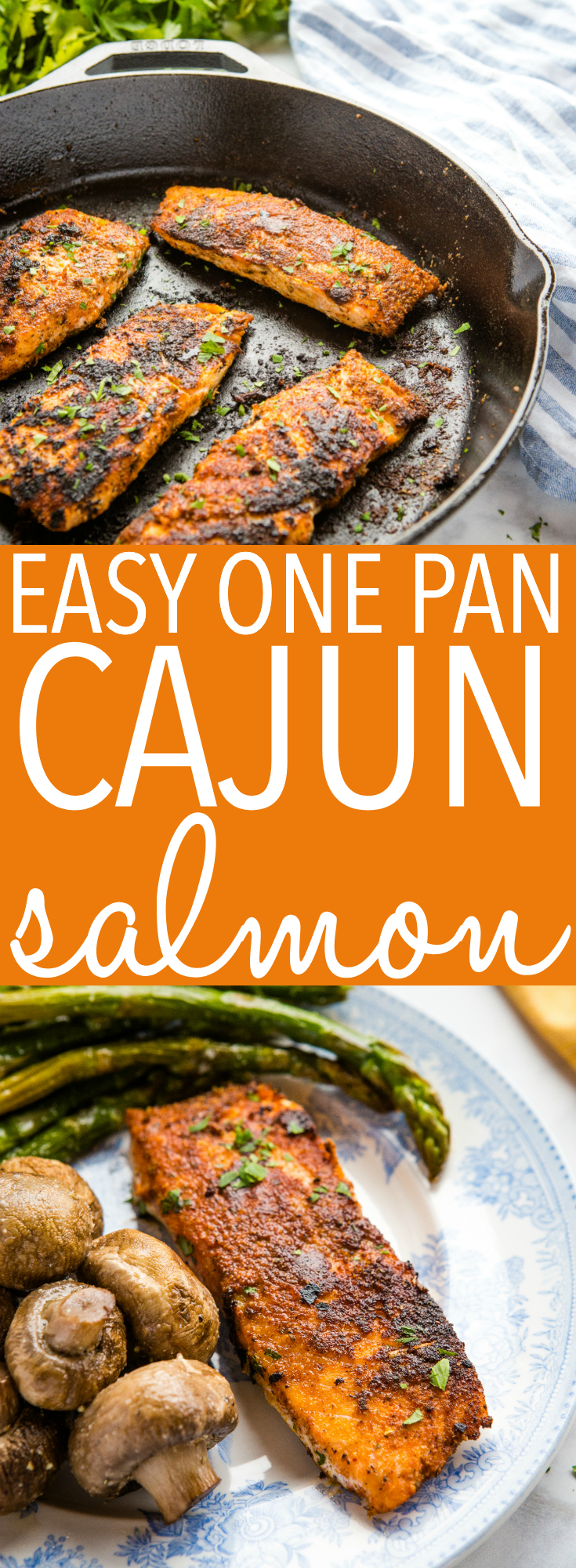 This Easy One Pan Cajun Salmon is the perfect low-carb main dish that's packed with spicy cajun flavor and easy to make in minutes! Recipe from thebusybaker.ca! #salmon #lowcarb #lowfat #omega3 #healthy #cajun #spicy #flavor #easymeal #maindish #seafood #easyrecipe #recipe #homemade via @busybakerblog