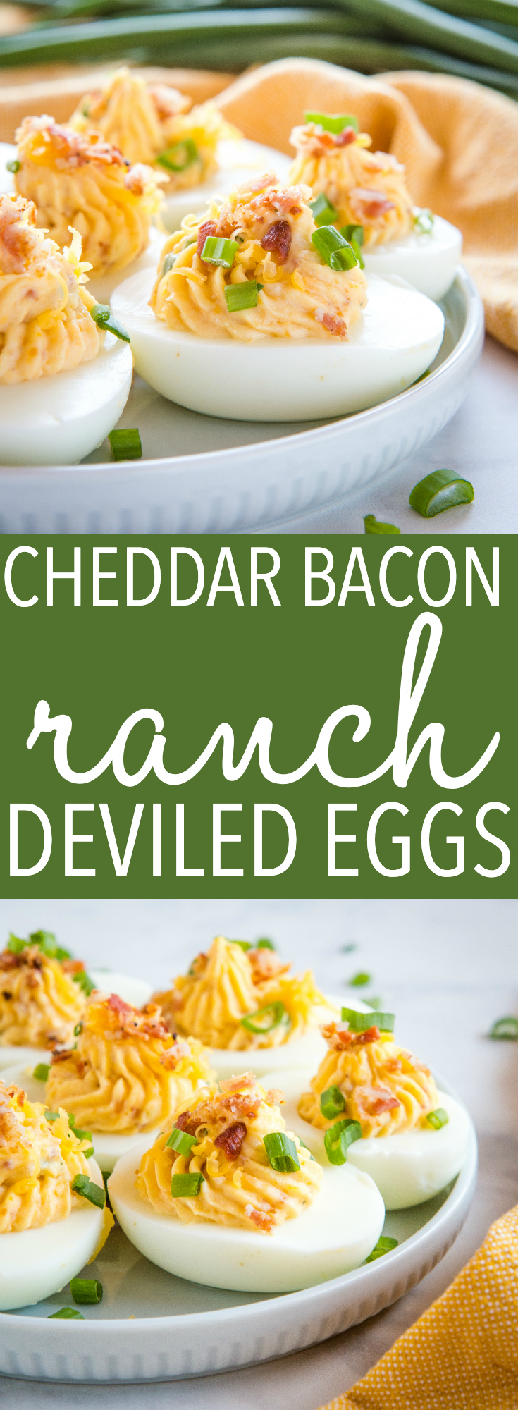 These Best Ever Cheddar Bacon Ranch Deviled Eggs are perfect for Easter! Made with sharp cheddar, crispy bacon and ranch - they're so easy to make! Recipe from thebusybaker.ca! #cheddar #bacon #ranch #deviledeggs #easter #snack #appetizer #dinner #entertaining #spring #eggs #treat #classic #recipe via @busybakerblog