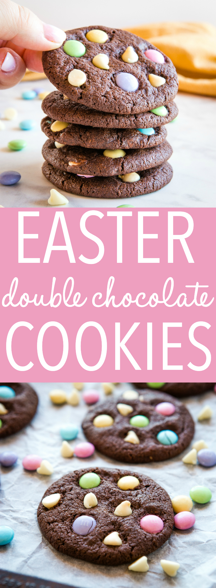 These Easter Double Chocolate Cookies are the perfect fun and easy Easter treat! Crispy on the outside, chewy on the inside, and packed with candy-coated chocolate and white chocolate! Recipe from thebusybaker.ca! #cookies #easter #treat #homemade #spring #m&ms #candy #easy #dessert #recipe via @busybakerblog