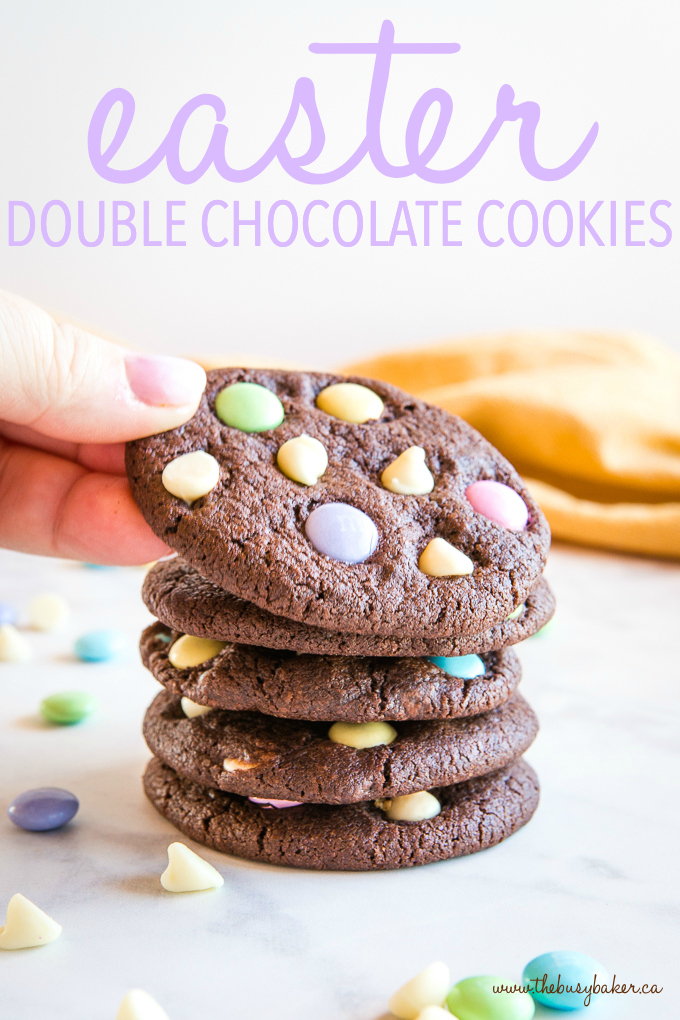 Easter Double Chocolate Cookies with Spring M&Ms