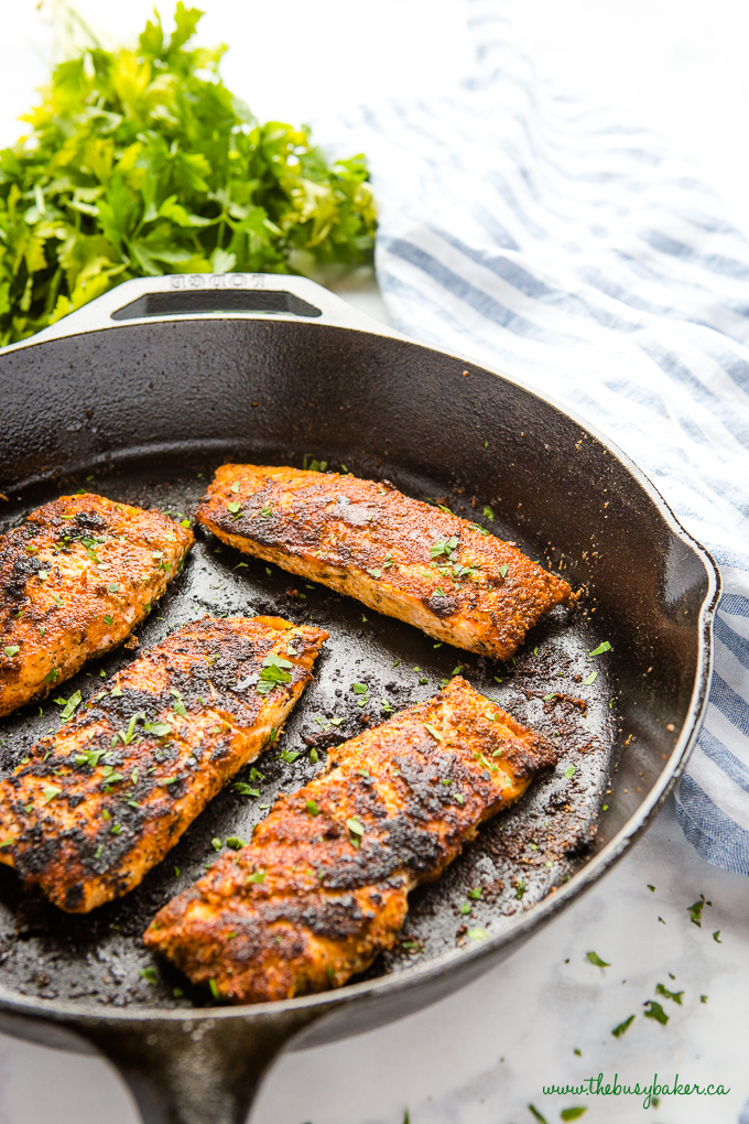 Easy One Pan Cajun Salmon in cast iron skillet