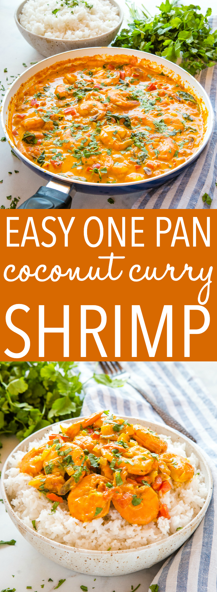 This Easy One Pan Coconut Curry Shrimp is the perfect easy healthy weeknight meal served over rice! Make it dairy-free and with fresh or frozen shrimp! Recipe from thebusybaker.ca! #curry #easy #recipe #shrimp #seafood #pescatarian #healthy #lowfat #lowcarb #rice #indianfood #homemade #weeknight #meal #family #foodblogger via @busybakerblog
