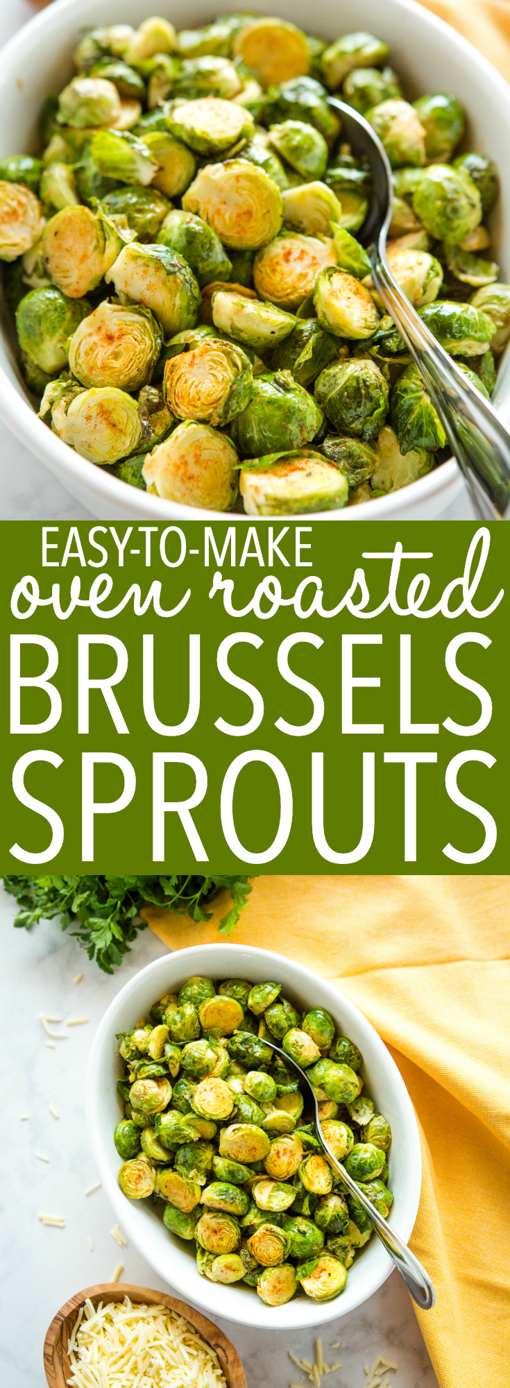 These Easy Oven Roasted Brussels Sprouts are the perfect easy and healthy side dish that's on the table in under 30 minutes and perfect for the holidays! Recipe from thebusybaker.ca! #brusselssprouts #easter #holidays #sidedish #veggies #vegetables #vegetarian #greens #healthy #health via @busybakerblog