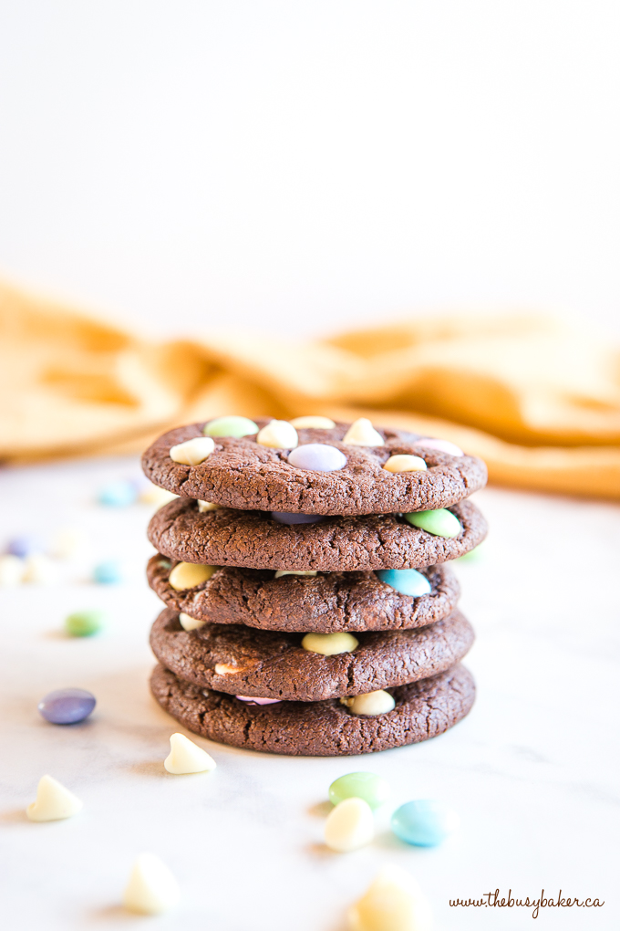 Easter Double Chocolate Cookies with Spring M&Ms in stack
