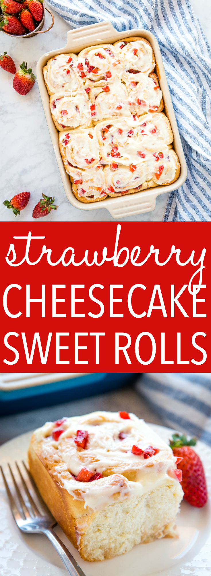 These Strawberry Cheesecake Sweet Rolls are the perfect spring breakfast or brunch featuring fresh juicy strawberries and cream cheese frosting! Recipe from thebusybaker.ca! #brunch #strawberry #fruit #spring #summer #seasonal #breakfast #snack #sweet #treat via @busybakerblog