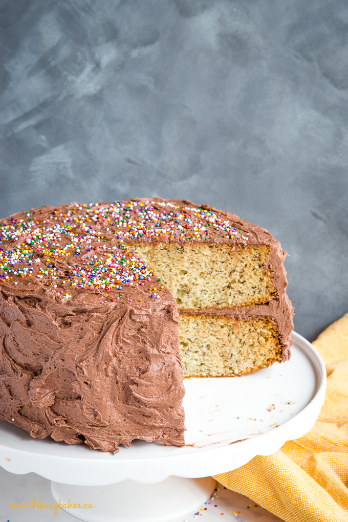 Banana Birthday Cake with Chocolate Frosting