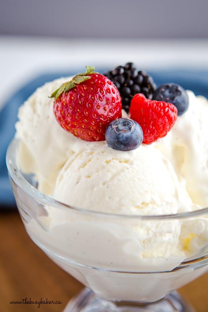 Best Ever No Churn Vanilla Ice Cream with berries