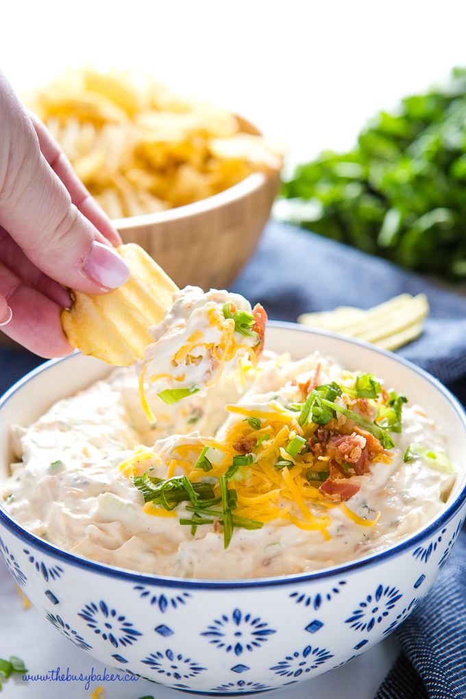 Cheddar Bacon Dip with ranch and chips