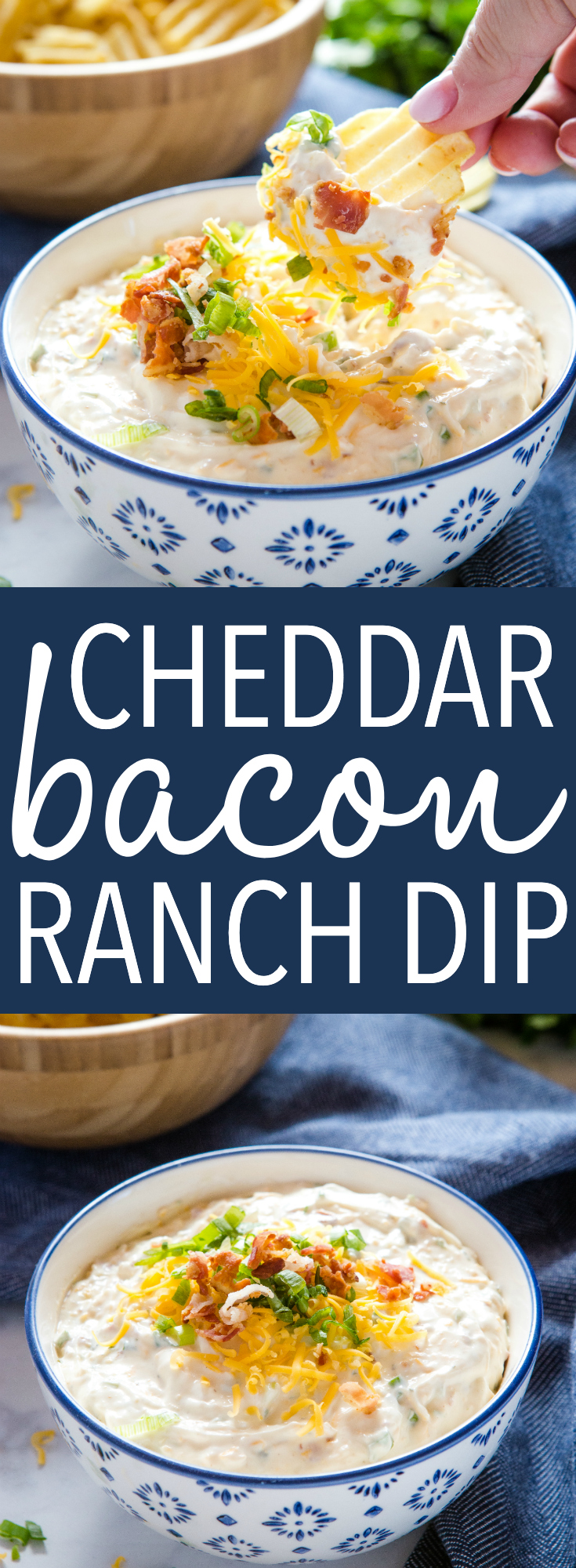 This Cheddar Bacon Ranch Dip is the perfect dip for veggies and chips - it's savoury, creamy and packed with cheese and bacon! Recipe from thebusybaker.ca! #dip #gameday #chips #veggies #ranch #bacon #cheese #cheddar #creamy #appetizer #snack #football #summer via @busybakerblog