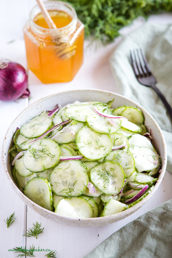 Cucumber Salad in pottery bowl