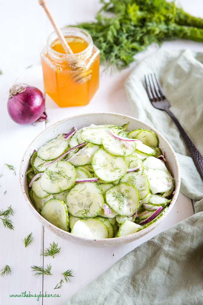 Cucumber salad with red onions and honey