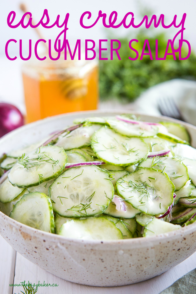 Easy Creamy Cucumber Salad in pottery bowl