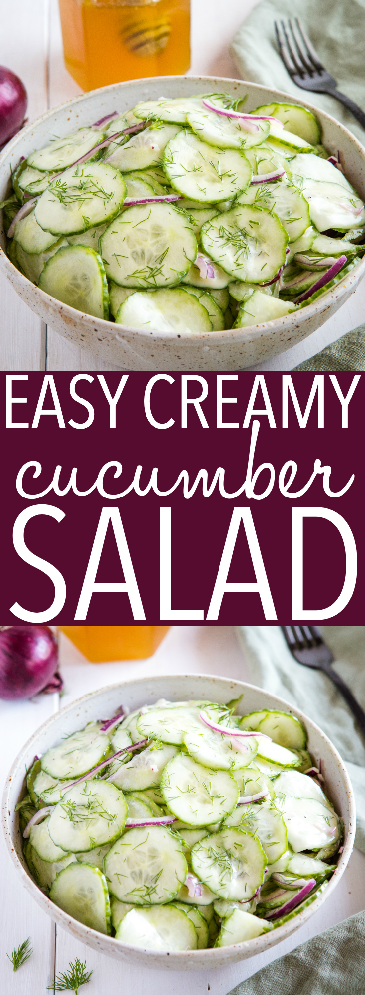 This Easy Creamy Cucumber Salad is the perfect simple summer side dish for picnics, barbecues and weeknight meals. Make it in minutes with only a few ingredients! Recipe from thebusybaker.ca! #salad #picnic #cucumber #barbecue #healthy #sidedish #potluck #vegetarian #vegan via @busybakerblog