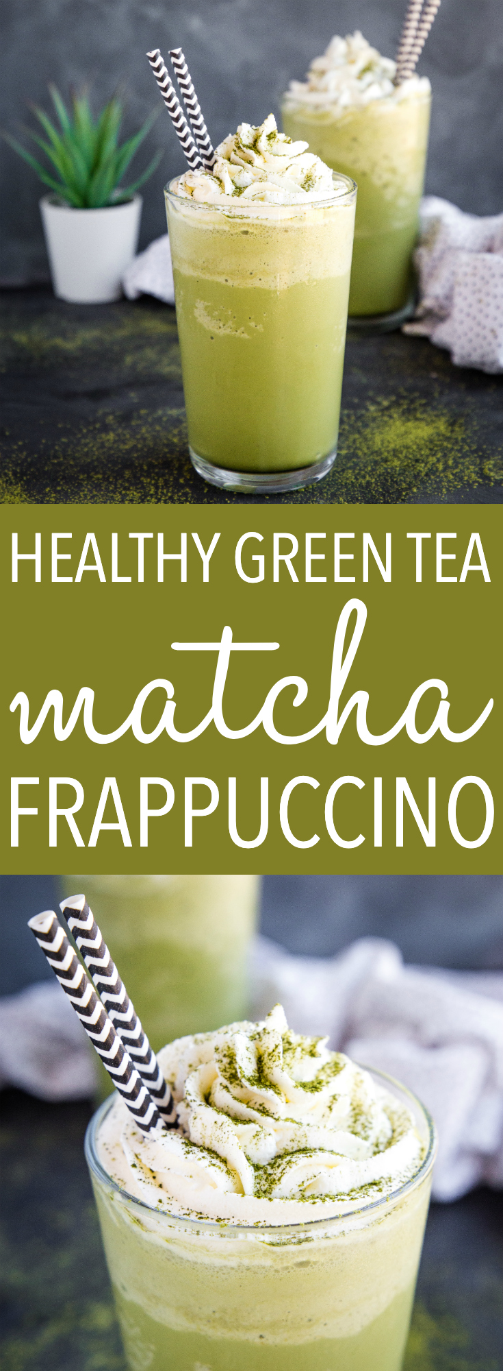This Healthy Matcha Green Tea Frappuccino is the perfect summer blended drink for green tea lovers! It's refined sugar-free, low in fat, and under 150 calories! Recipe from thebusybaker.ca! #starbucks #coffee #matcha #greentea #copycat #frappuccino #coldbrew #drink #tea #summer #smoothie #blender #cool #recipe via @busybakerblog