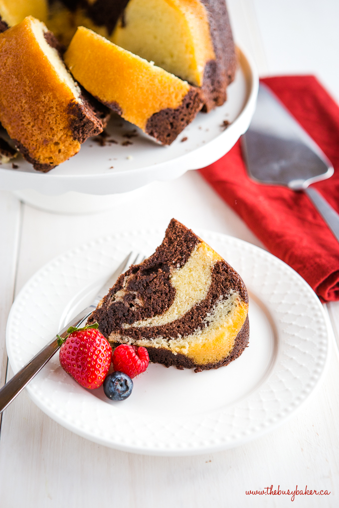 Chocolate Vanilla Marble Pound Cake with berries