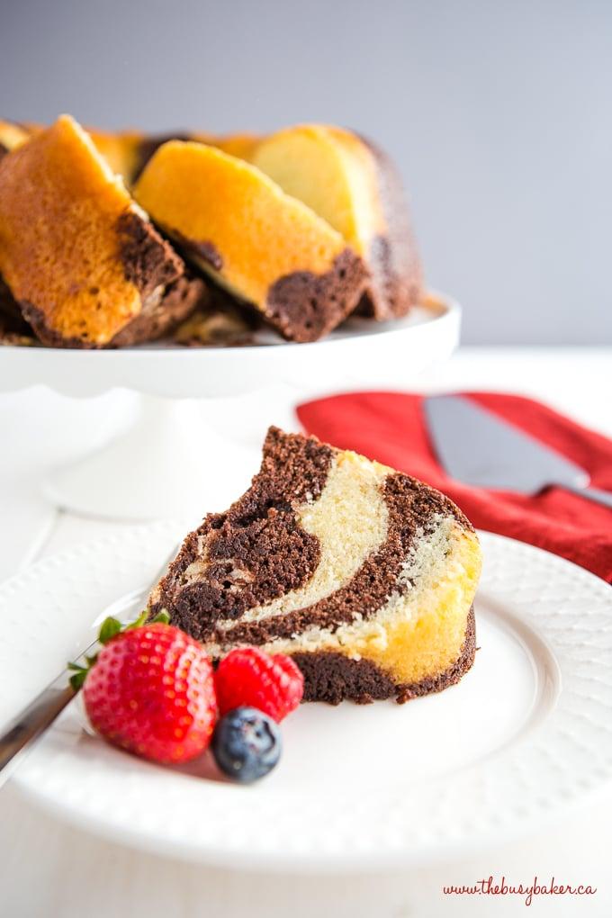 Chocolate Vanilla Marble Pound Cake Slice