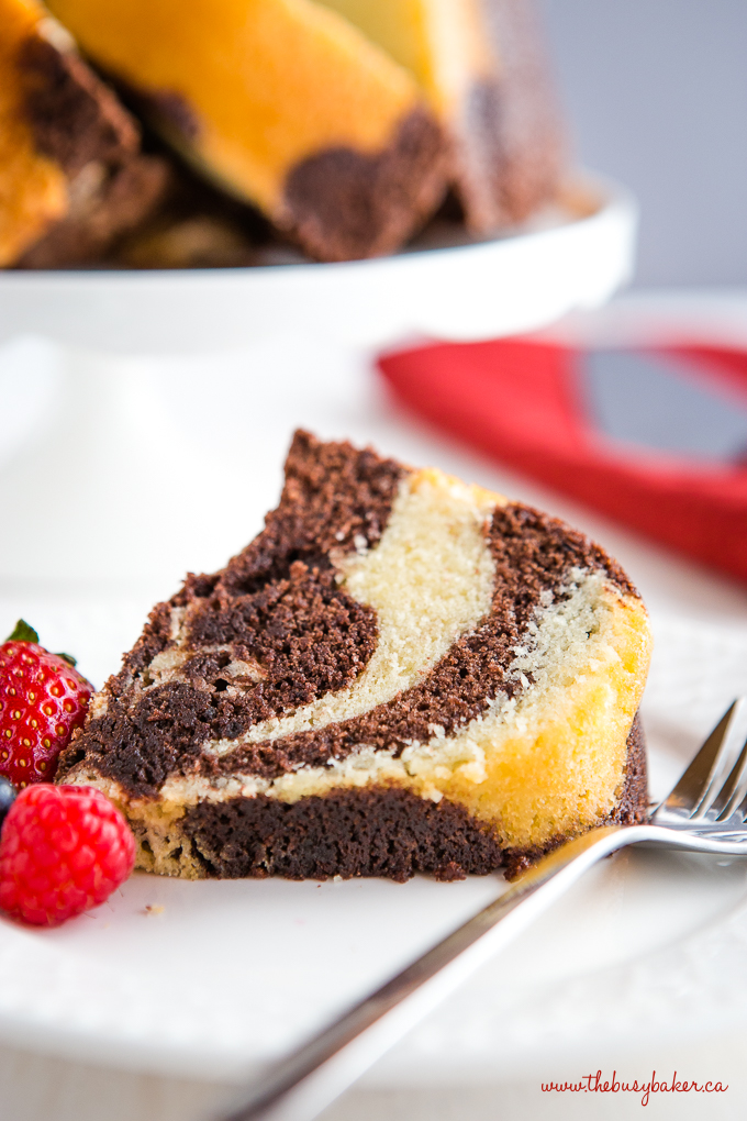 Vanilla Chocolate Marble Pound Cake Slice with berries