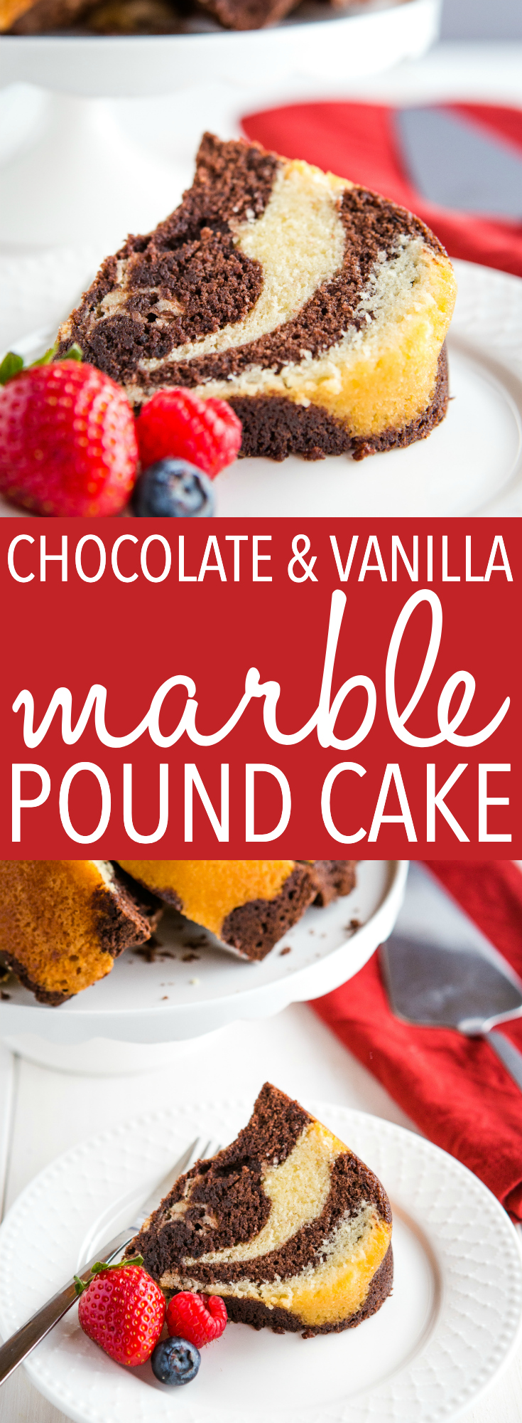 This Chocolate Vanilla Marble Pound Cake is tender and moist, and it's the perfect classic dessert to serve with fresh berries or for coffee break. Recipe from thebusybaker.ca! #poundcake #cake #easy #recipe #dessert #classic #baking #baker #foodblog #berries  via @busybakerblog