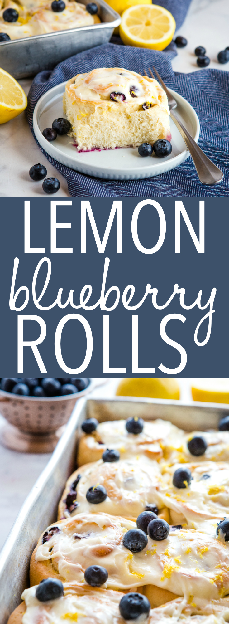 These Lemon Blueberry Sweet Rolls are the perfect summer breakfast or brunch featuring fresh blueberries and a sweet cream cheese frosting! Recipe from thebusybaker.ca! #sweet #rolls #breakfast #brunch #blueberries #blueberry #lemon #citrus #sweetbread #treat #baking #recipe via @busybakerblog