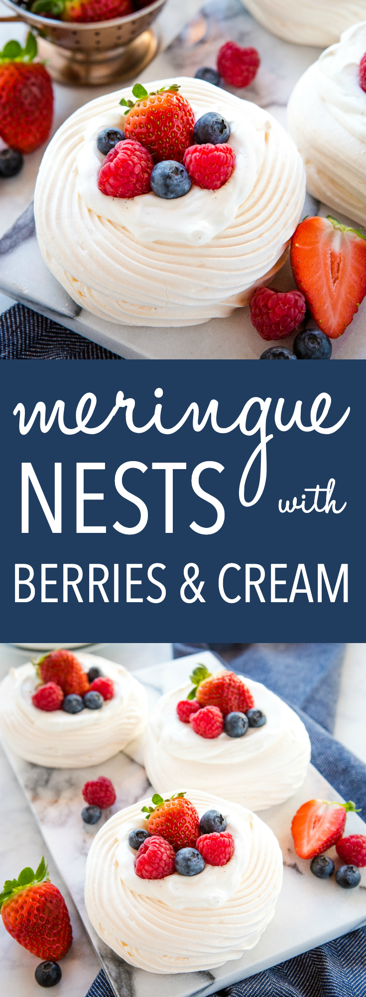 These Meringue Nests with Berries and Vanilla Cream make the perfect light-tasting summer dessert that's gluten-free and packed with fresh fruit! Recipe from thebusybaker.ca! #glutenfree #dessert #meringue #berries #vanilla #cream #easy #recipe via @busybakerblog