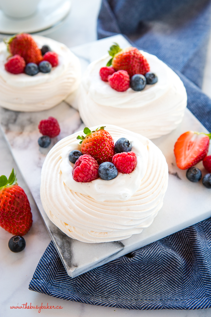 Meringue Nests with vanilla cream and fresh berries