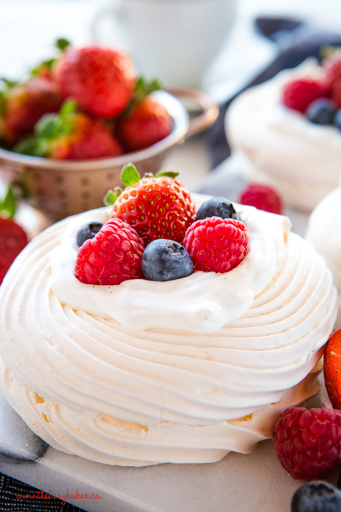 Meringue Nests with fresh strawberries, blueberries and raspberries