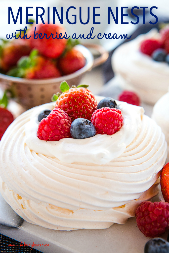 Meringue Nests with berries and cream