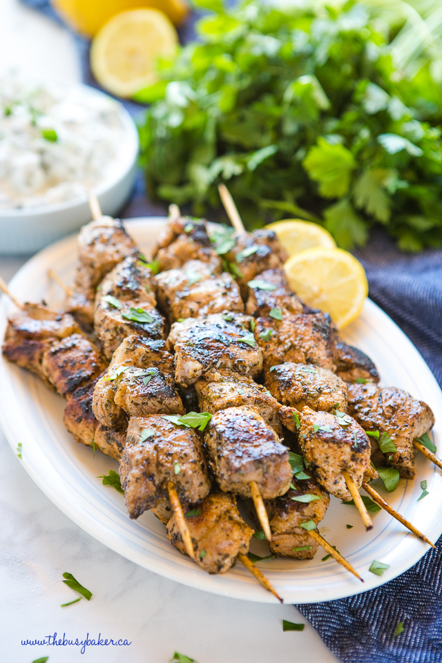 plate of pork souvlaki with herbs