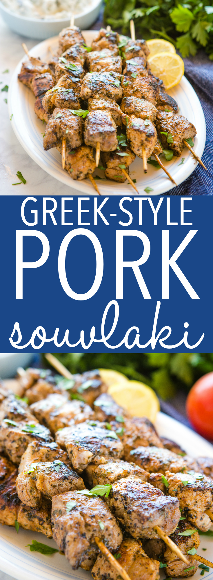 These Easy Greek-Style Pork Souvlaki Skewers are a delicious main dish that's easy to make and perfect for summer! Enjoy them with tzatziki! Recipe from thebusybaker.ca! #greek #food #recipe #tzatziki #souvlaki #gyros #streetfood #holiday #summer #grilling #pork #lemon #herbs #homemade #barbecue via @busybakerblog