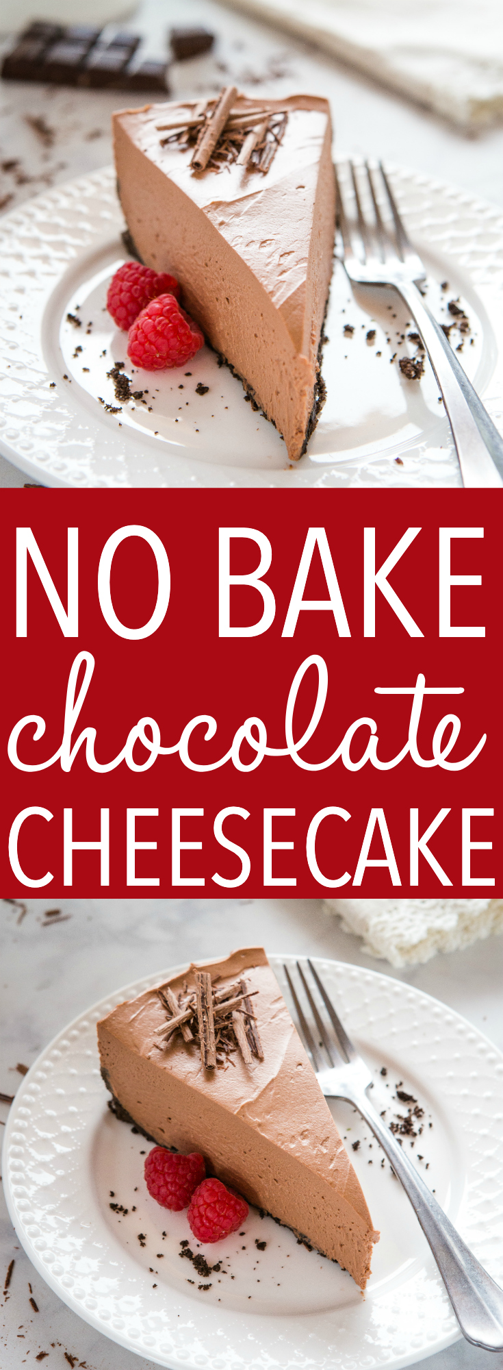 This Best Ever No Bake Chocolate Cheesecake is the perfect easy-to-make cheesecake dessert that's creamy and delicious and packed with real chocolate! Recipe from thebusybaker.ca! #recipe #chocolate #cheesecake #dessert #summer #nobake #creamy #sweet via @busybakerblog