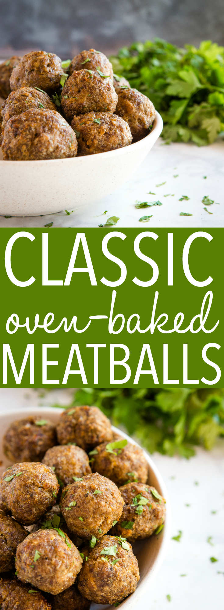 These Easy Classic Baked Meatballs are perfect as an appetizer or added to your favourite Italian dishes. Made from basic ingredients in under 30 minutes! Recipe from thebusybaker.ca! #meatballs #homemade #easy #recipe #baked #notfried #simple #italian #freezer #cooking #mealprep via @busybakerblog