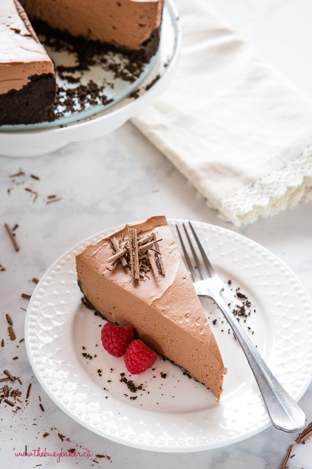 chocolate cheesecake on white plate
