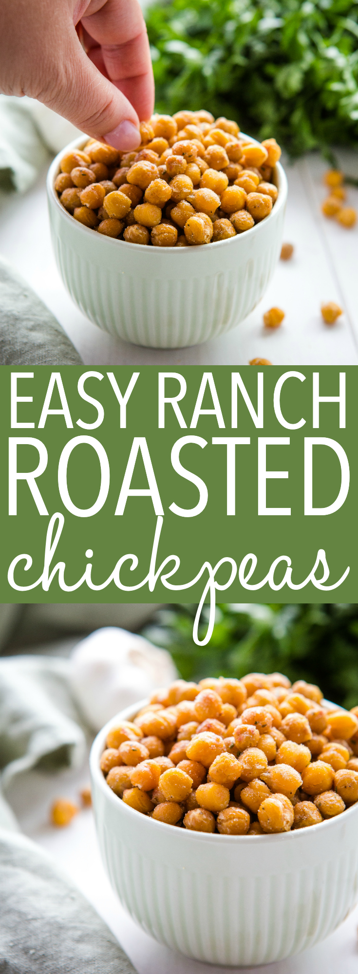 These Easy Ranch Roasted Chickpeas make the perfect healthy, low-fat snack packed with protein! Made with only 3 ingredients!! Recipe from thebusybaker.ca! #ranch #snack #chickpeas #vegetarian #healthy #lowfat #health #roasted via @busybakerblog