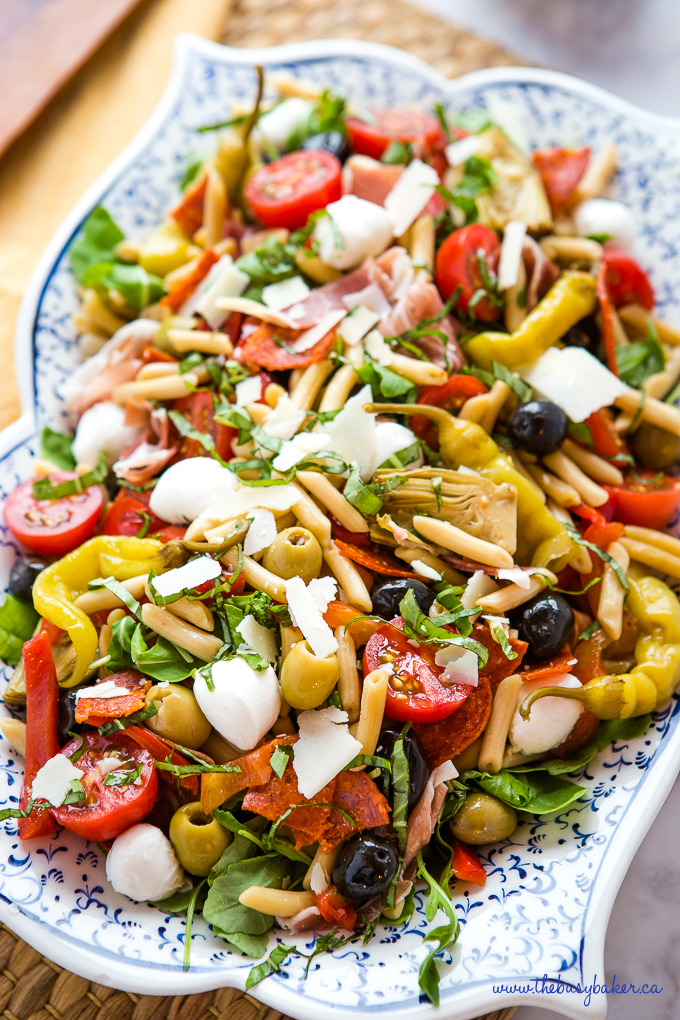 pasta salad with green olives and black olives