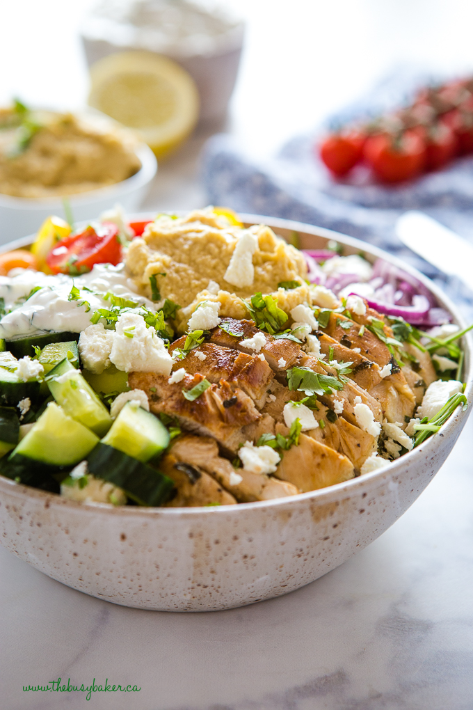 Chicken shawarma bowl with chicken and veggies and hummus