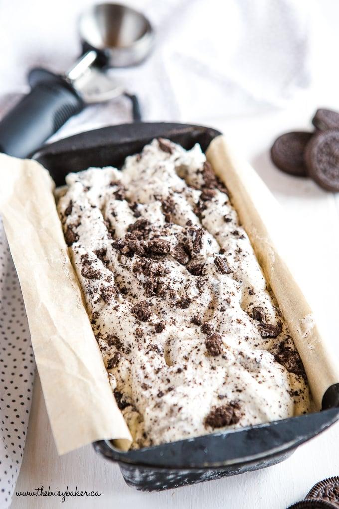 Oreo Ice Cream in container with ice cream scoop