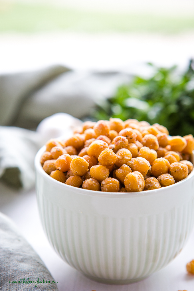 ranch roasted chickpeas in green bowl