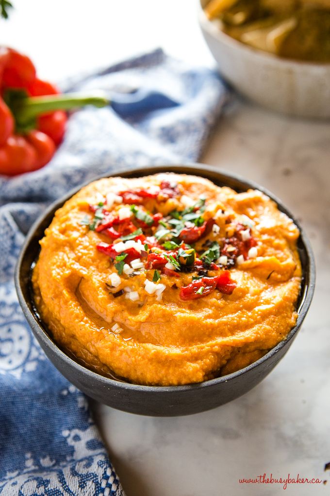 roasted red pepper hummus with garlic and herbs