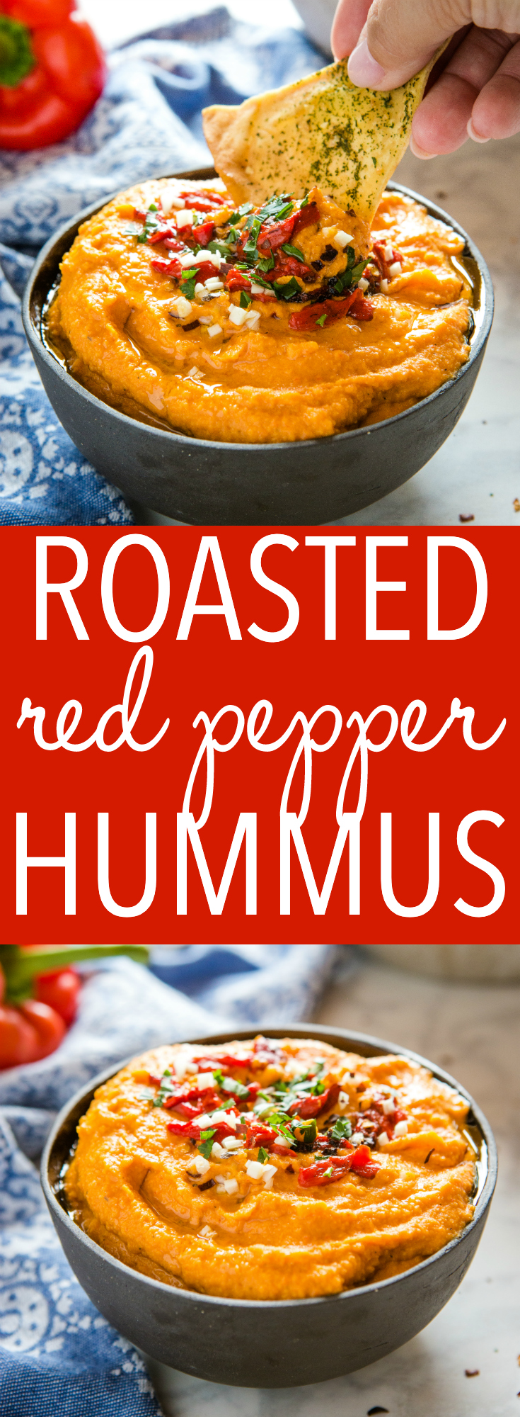 This Easy Roasted Red Pepper Hummus is the perfect easy-to-make snack or appetizer made with roasted red peppers, chickpeas, and garlic! Make it spicy or mild! Recipe from thebusybaker.ca! #recipe #hummus #roastedredpepper #chili #vegetarian #vegan #healthy #snack #appetizer #pitachips via @busybakerblog