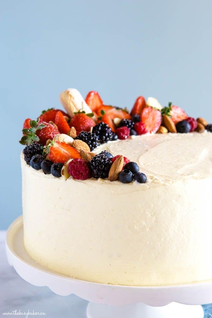 Almond Cream Cake with fruit design
